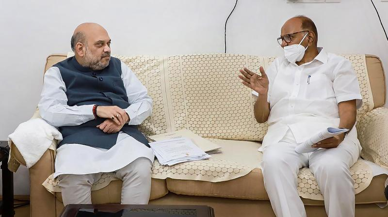 NCP Chief Sharad Pawar in a meeting with Union Home Minister Amit Shah in New Delhi. (PTI)