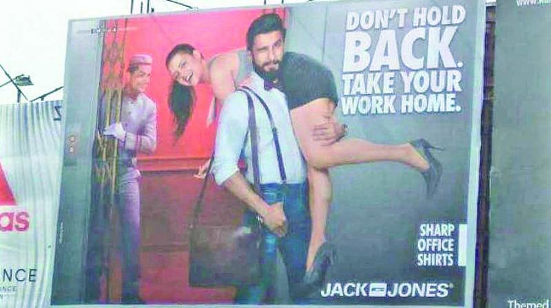 Ranveer Singh advertisement where a woman was slung over his shoulder