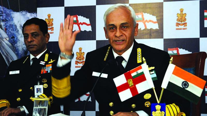 Chief of the Naval Staff Admiral Sunil Lanba addresses the media on Navy Day in New Delhi. (Photo: G.N. Jha)