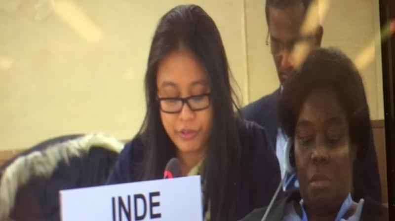 Speaking at the session of UNHRC, Mini Devi Kumam, Second Secretary, India's Permanent Mission, said, 'In gross violation of UN Security Council resolution 1267, the UN designated terrorists like Hafiz Mohammed Saeed are freely operating with State support, and the UN designated entities are being politically mainstreamed in Pakistan.' (Photo: ANI)