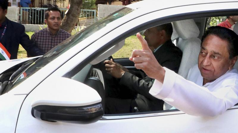 Kamal Nath leaving a meeting with Congress party MLAs in Bhopal last week. (PTI)