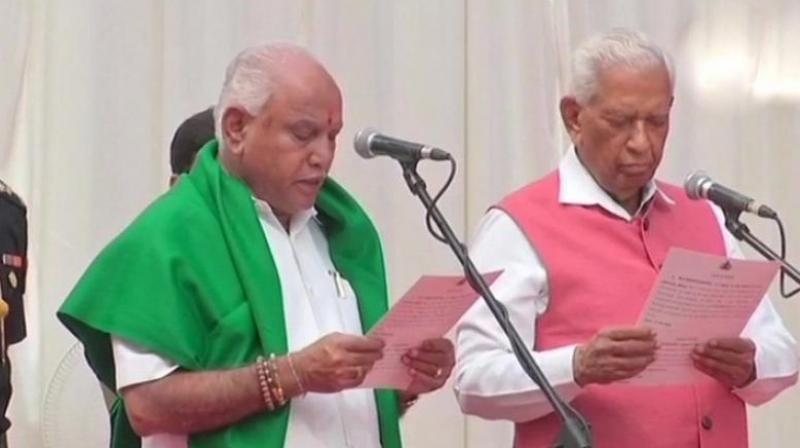 B.S. Yeddyurappa takes oath as the Chief Minister of Karnataka. (Photo: ANI | Twitter)