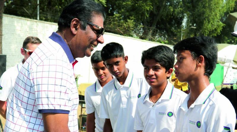 Vijay Amritraj at the Road To Wimbledon event in New Delhi on Tuesday.
