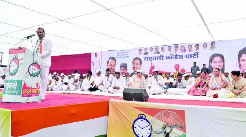 Ajit Pawar addressing people at Nesari, Kolhapur. (Photo: Asian Age)