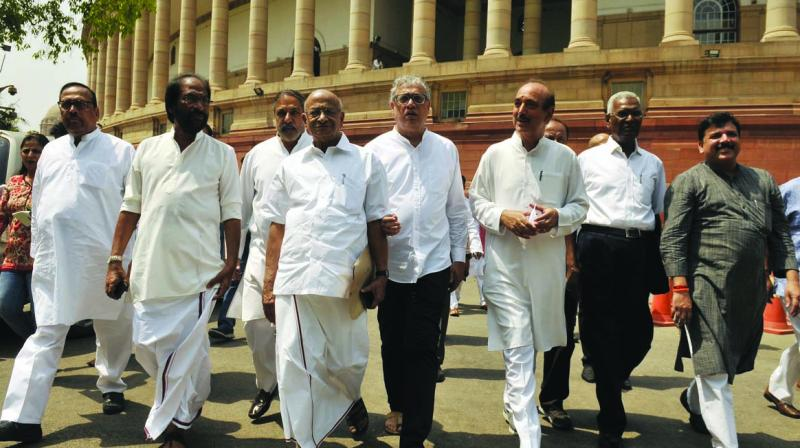 Leaders of Opposition parties arrive to address a joint media interaction at Parliament house during the ongoing Budget Session in New Delhi on Wednesday. (Photo: Pritam Bandyopadhyay)