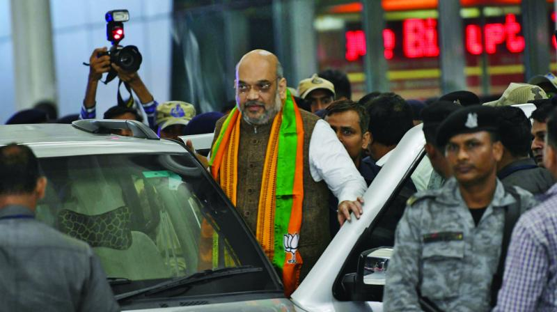 Amit Shah snapped outside the Domestic Airport on Thursday. (Photo: Mrugesh Bandiwadekar)