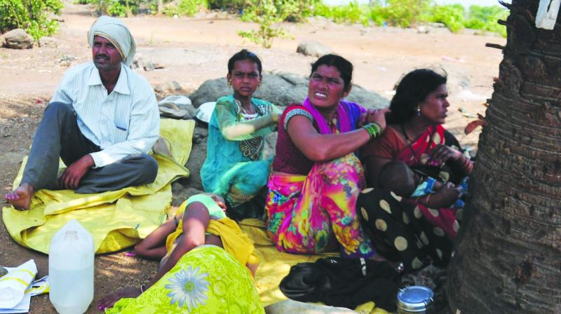 People from Palghar district left their home and built a make-shift camp near Ambadi in Bhiwandi. (Photo: Debasish Dey)