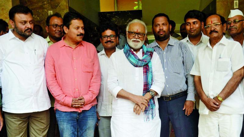 NCP leader Chhagan Bhujbal returns home at Santacruz. (Photo: Rajesh Jadhav)