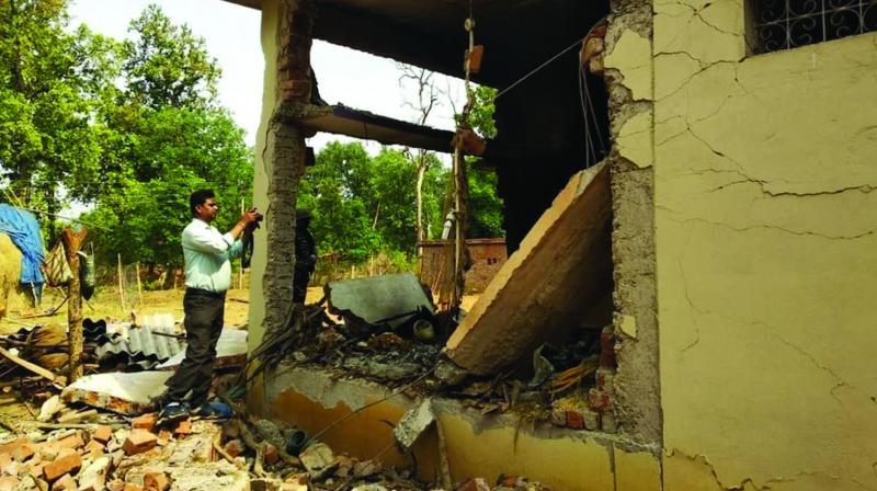 BJP MP Vikram Usendi's farmhouse in Bastar, blown up by Naxals on Wednesday. (Photo: Asian Age)