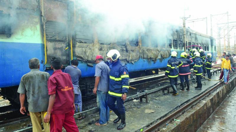 Firemen attempt to douse the blaze. (Photo: Rajesh Jadhav)