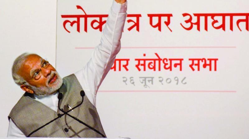 PM Narendra Modi speaking during a BJP function in Mumbai. (Photo: PTI)