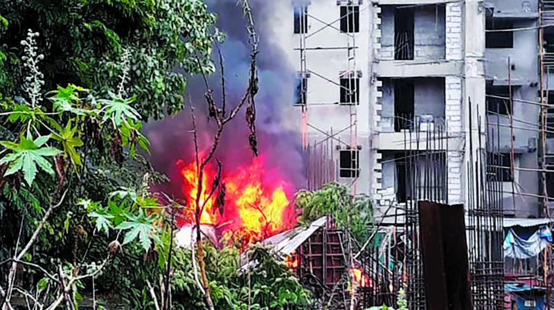 Eyewitnesses of the crash heard explosions for 15 minutes and saw flames spewing out. (Photo: PTI)