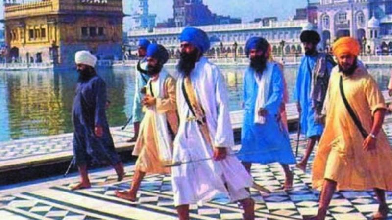 A file photograph of Jarnail Singh Bhindranwale at the Golden Temple in 1982.