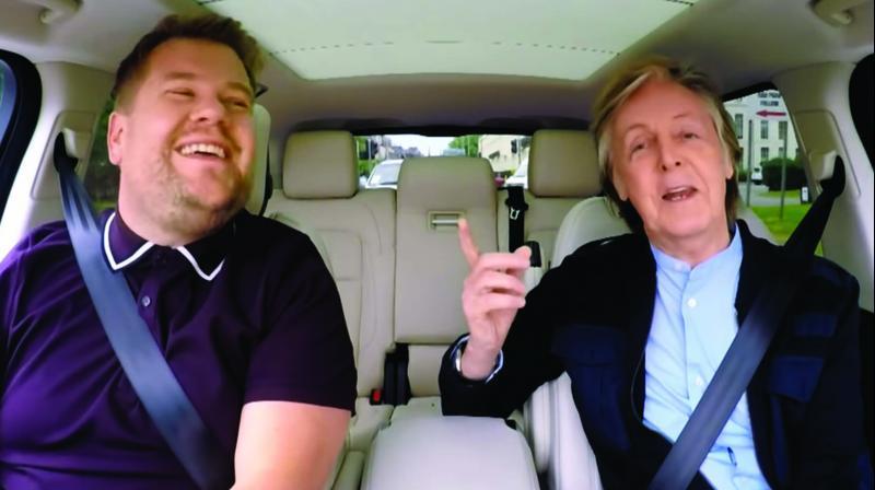 Paul McCartney (right) in Carpool Karaoke with James Corden