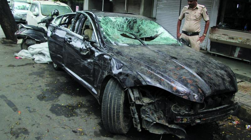 The damaged Jaguar. (Photo: Mrugesh Bandiwadekar)