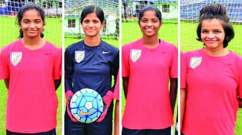 (L to R) Priyanka Sujeesh, Anjali Barke, Jahnvi Shetty and Mmehak Lobo.