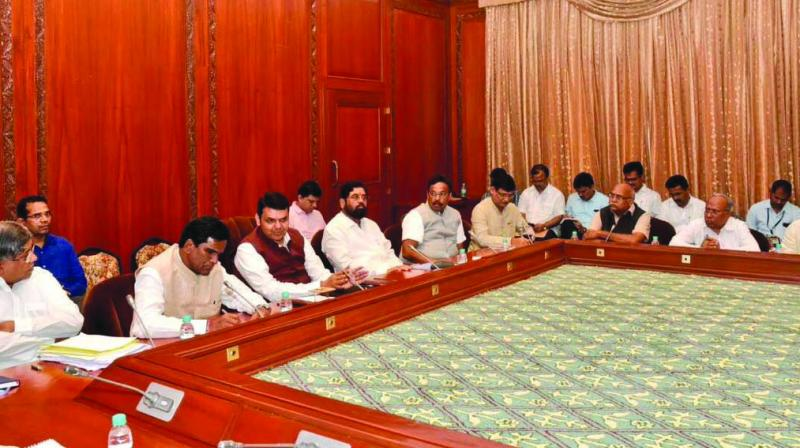 Chief minister with dignitaries from Maratha community