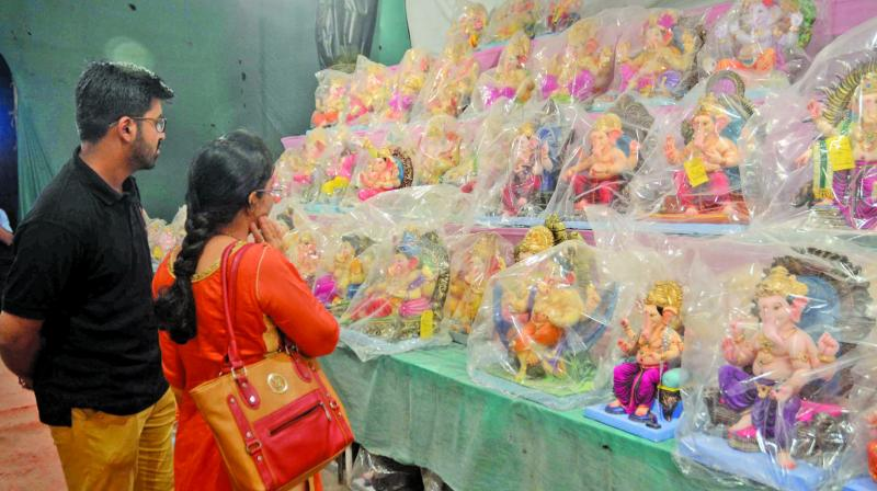 Ganesh idols packed in plastic cover. (Photo: Shripad Naik)