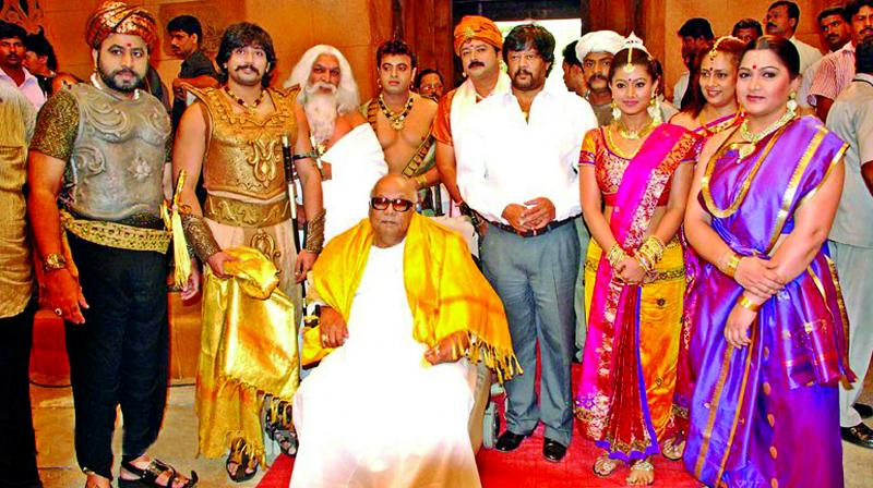 DMK chief at the shooting of Ponnar Shankar. (Photo: Asian Age)