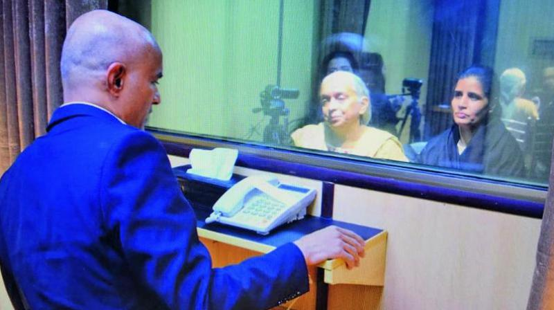 A Pak Foreign Ministry spokesperson said that the glass partition was there for 'security reasons' and Jadhav and his family had been intimated about the same, prior to the meeting. (Photo: AP)