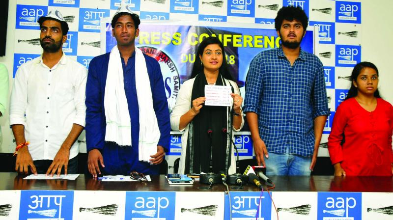 Candidates of Aisa-CYSS Sunny Tanwar, Chandra Mani Dev, AAP MLA Alka Lamba, Abhigyan and Anshika Singh during the Dusu elections press conference in New Delhi on Thursday. (Photo: Bunny Smith)