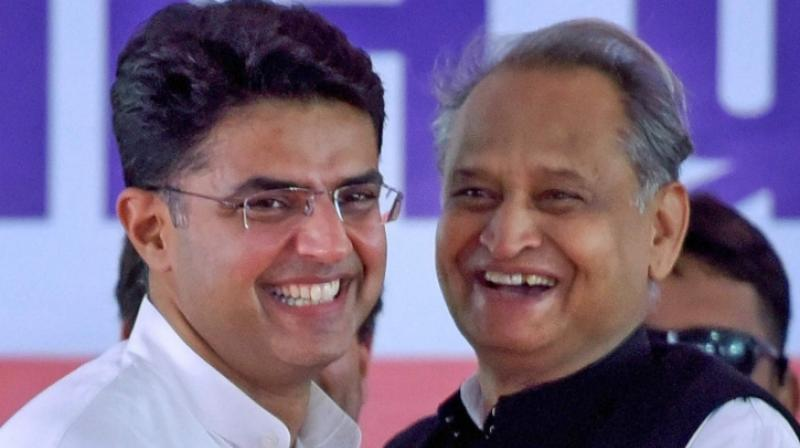 (From left) Sachin Pilot with Ashok Gehlot