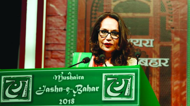 Kamna Prasad, founder Jashn-e-Bahar Trust, taking part at a mushaira Jashn-e-Bahar 2018 held in April 2018 in New Delhi. This was the 20th edition of the mushaira Jashn-e-Bahar.