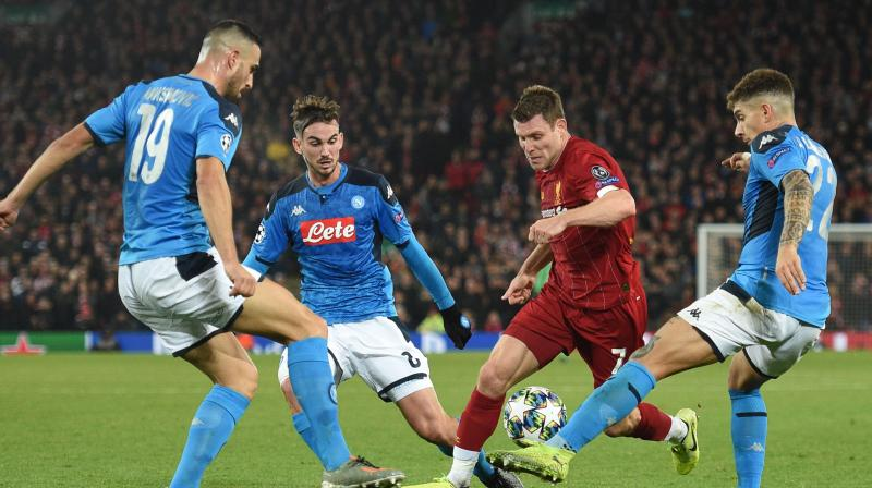 Matters got worse for Juergen Klopp when Belgian Dries Mertens put Napoli ahead in the 21st minute with a sweet strike from a tight angle after running on to a through-ball from Giovanni Di Lorenzo. (Photo:AFP)