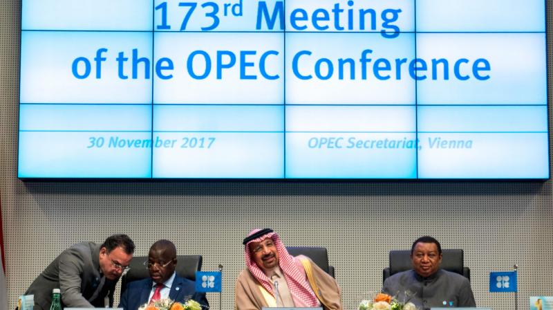 (File) OPEC Conference President Saudi Arabia's Energy Minister Khaled al-Falih (2ndR), OPEC Secretary General Mohammed Barkindo (R) and Angola's Governor for OPEC and Chairman of the Board of Governors Estevao Pedro (2nd L) the 173rd OPEC Conference of Organization of the Petroleum Exporting Countries (OPEC) in Vienna. (AFP Photo))