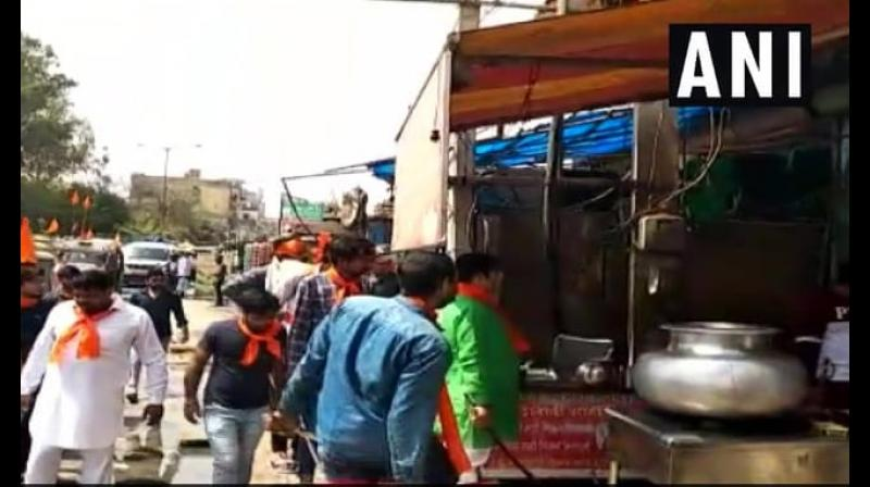 Over 200 Hindu Sena activists on Saturday marched towards many places in Gurgaon, including Palam Vihar, Badshahpur and Om Vihar, and forcibly shut 250 meat shops, he said. (Photo: ANI)