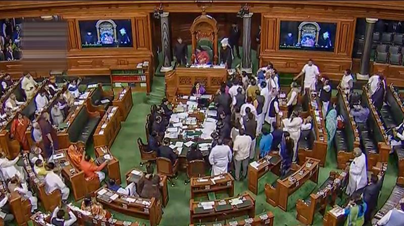 BJP MP Meenakshi Lekhi in the Speaker chair conducts proceedings in the Lok Sabha (PTI)