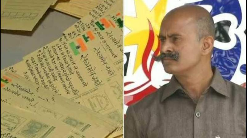 On the postcard that he sends, Jitendra Singh Gurjar carefully sketches the Indian flag and writes 'Satyamev Jayate' (truth triumphs) next to it. (Photo: Twitter | ANI)