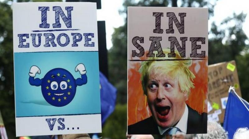 """The protestors heralded banners, posters and raised the slogan """"No to Boris, yes to Europe."""" (Photo: ANI)"""