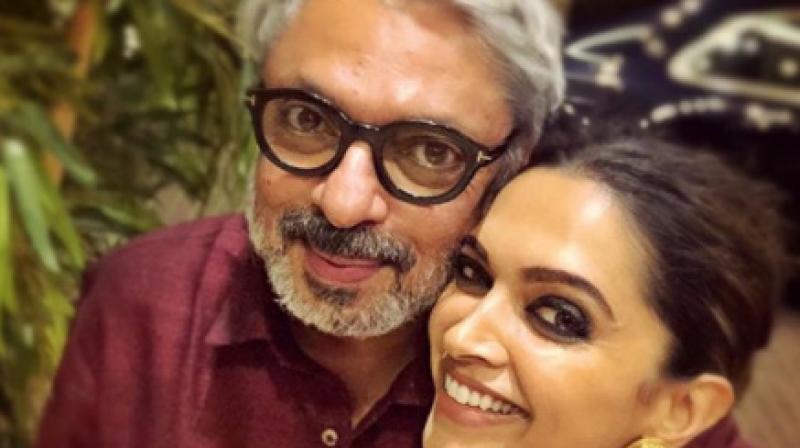 The picture with Sanjay Leela Bhansali that Deepika Padukone shared on social media.