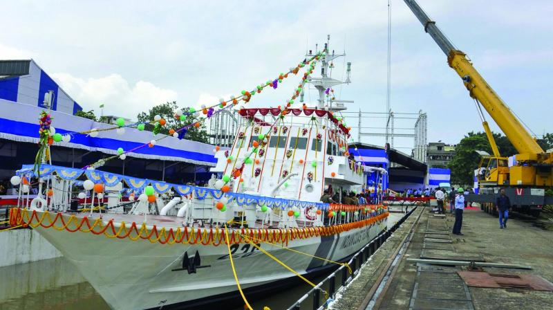 Garden Reach Shipbuilders & Engineers-built Indian Coast Guard (ICG) Fast Patrol Vessel Kanaklata Barua during its launch at Raja Bagan Dockyard in Kolkata on Saturday. The ship has been named after a freedom fighter from Assam. (Photo: PTI)