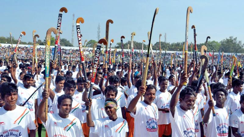 Players at the inauguration of the Biju Patnaik Rural hockey championship that commenced in Rourkela last week.