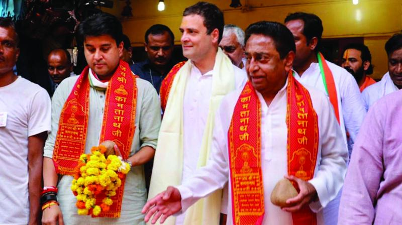 A file photo of Congress leaders maintaining a facade of bonhomie and camaraderie.