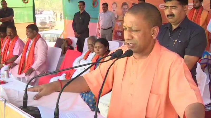Coming down heavily on the Congress, Adityanath alleged that the country has failed to take giants strides on road to development due to the soft approach of the grand old party towards terrorists and naxalites. (Photo: Twitter/ ANI)