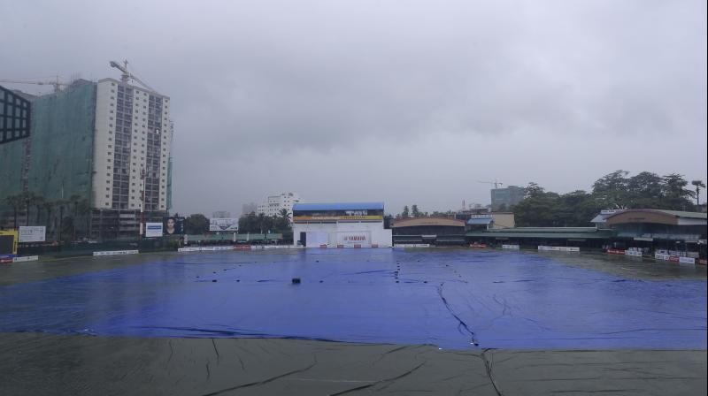 The entire P. Sara Oval ground remained covered under overcast skies. (Photo: AP)