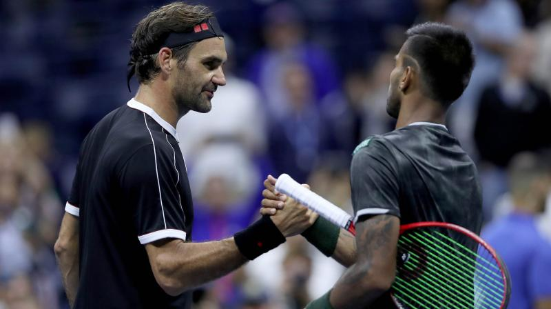 The 24-year-old Nagal troubled Federer quite a bit during the match and the Swiss legend's problems were also compounded by his own unforced errors. (Photo: AFP)