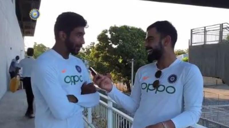 Jasprit Bumrah, who took his maiden Test hat-trick against West Indies, has attributed his feat to skipper Virat Kohli as his third wicket came on the Decision Review System (DRS), which Kohli took. (Photo: Twitter/ Screengrab)
