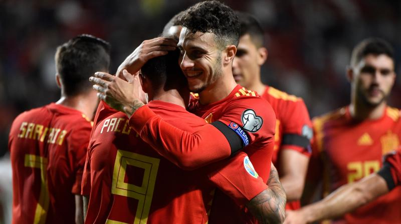Rodrigo and Paco Alcacer both scored twice as Spain eased to a 4-0 victory over the Faroe Islands in Gijon on Sunday. (Photo: AFP)