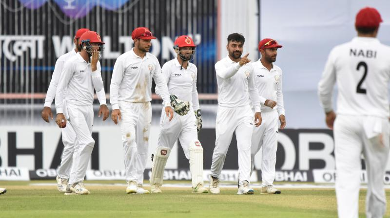With four wickets in hand, the hosts were given 18.3 overs to survive after play resumed in the final session following a rain break but they succumbed with three overs to spare. (Photo: Twitter/ Afghanistan Cricket Board)