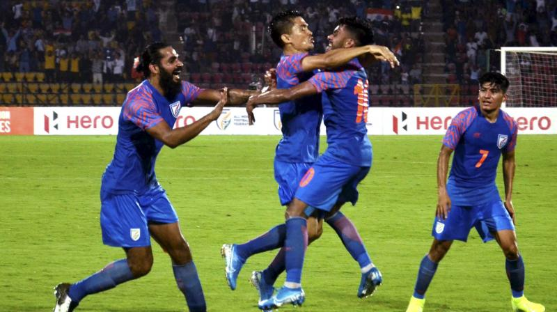India let in two goals in the last eight minutes after taking an early lead to lose their opening match against Oman on September 5 in Guwahati. (Photo: PTI)