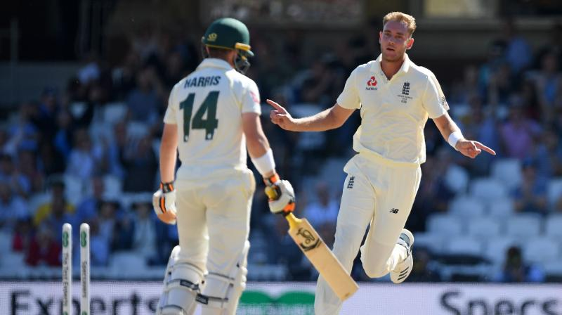 Paceman Stuart Broad pounded in, roared on by a packed crowd, who raised the roof when he demolished Marcus Harris's off-stump in the fifth over, removing the batsman for nine. (Photo: AFP)
