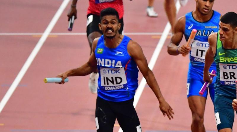 India's mixed relay team comprising of Muhammed Anas, Vismaya, Krishna Mathew and Noah Nirmal have secured an Olympic berth. (Photo: AFP)