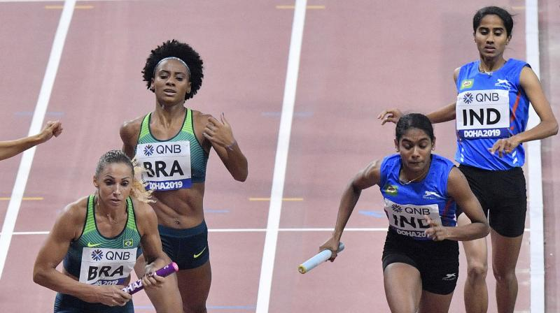The team of Muhammed Anas, V K Vismaya, Jisna Mathew and Tom Nirmal Noah clocked 3 minutes 15.77 seconds to finish seventh in the field of eight countries on Sunday. (Photo: AP/PTI)