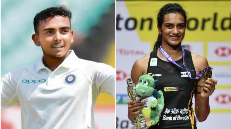Prithvi Shaw, who is facing a ban for a doping violation, is all set to train with ace Indian shuttler PV Sindhu in Hyderabad. (Photo: AFP)