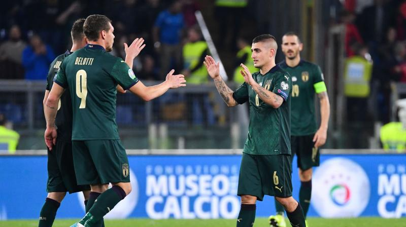 In the match between Italy and Greece, Jorginho and Federico Bernardeschi registered goals for the Robert Mancini's side. (Photo: AFP)