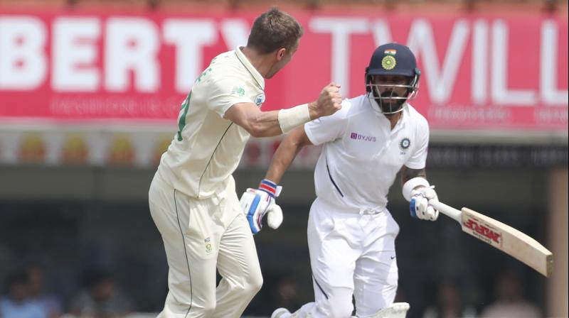 India lost opener Mayank Agarwal (10), Cheteshwar Pujara (0) and skipper Virat Kohli (12) with South Africa pacers finally giving a good account of themselves. (Photo: AP)